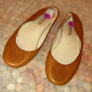 Michael Kors Brown Leather Ballet Flats 8.5 M